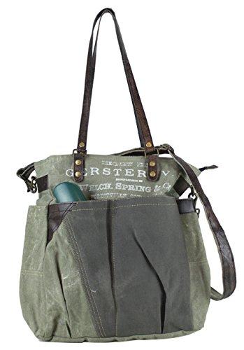 Sunsa Tasche Damen 48x40x10 Umhängetasche Shopper Leder cm Vintage Canvas aus Schultertasche mit Handtasche Segeltuch qrrSE6