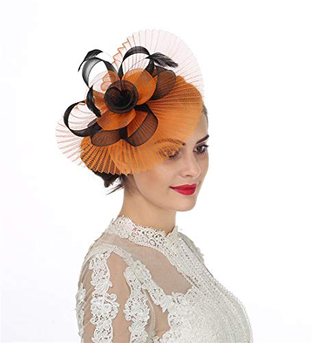 - Lucky Leaf Women Girl Fascinators Hair Clip Hairpin Hat Feather Cocktail Wedding Tea Party Hat (4-Orange)
