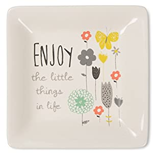 Pavilion Gift Company Bloom by Amylee Weeks - Enjoy The Little Things Floral Butterfly Jewlery Dish, Floral