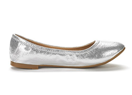 DREAM PAIRS Womens Sole Happy Ballerina Walking Flats Shoes Silver JCii0Kt