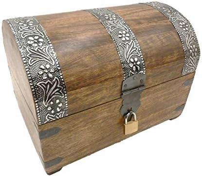 Cofre del Tesoro Caja de madera caja de madera baúl con candado Caja Caja Cofre del Tesoro, marrón, G: Amazon.es: Hogar