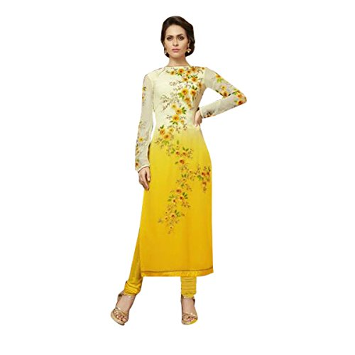 Yellow & White Color Salwar Kameez Bollywood Diwali Festive Wedding Formal Party Wear Women Ceremony By Ethnic Emporium 524 by ETHNIC EMPORIUM