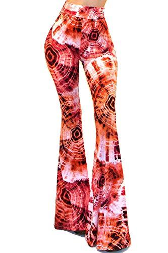 - Vivicastle Women's Boho Solid Hippie Wide Leg Flared Bell Bottom Pants (Medium, D99, Pink)