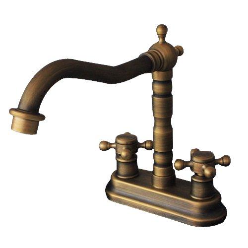 GUMA Solid Brass Deck Mount Center Set Bathroom Sink Faucet Double Cross Handle Control Fairfax Swivel Spout Bathtub Filler Mixer Valve Water (Antique Copper Valve)