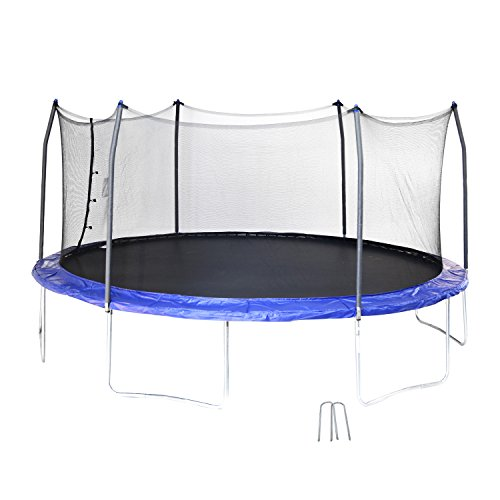 Skywalker Trampolines 17' Oval Trampoline with Enclosure and Wind Stakes - Blue