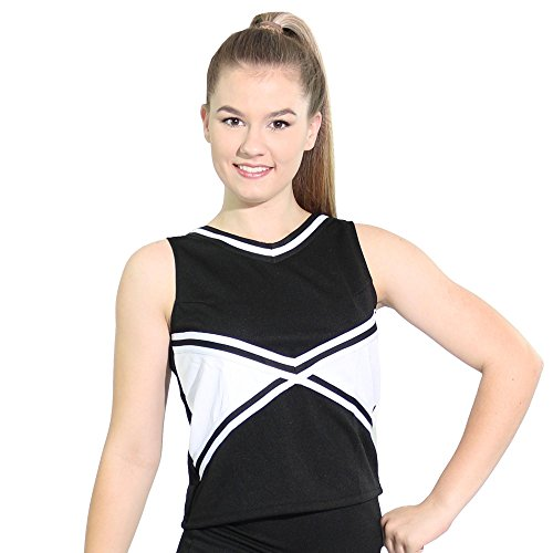 Danzcue Womens 2-Color Kick Sweetheart Cheerleaders Uniform Shell Top, Black-White, Large ()