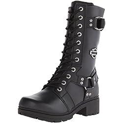Harley-Davidson Women's Eda Motorcycle Boot, Black, 8 M US