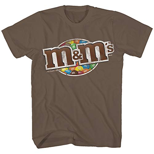 Mars M&M's Candy Shell Chocolate M and M Halloween Costume Classic Wrapper Logo Adult Graphic Men's Tee T-Shirt (Chocolate, Large) -
