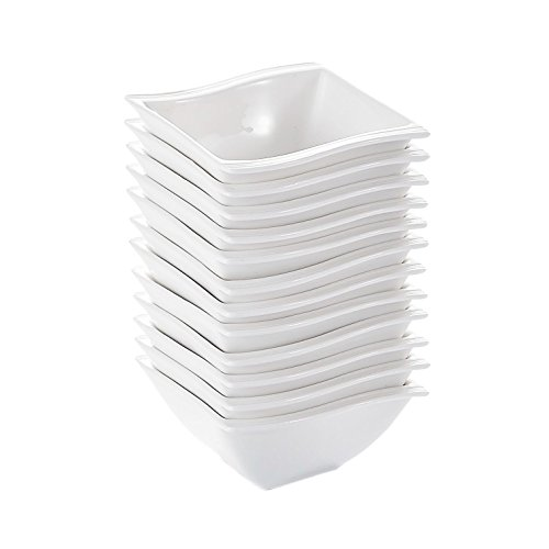 (Malacasa 12 Piece Series Flora, China Ceramic Square Porcelain Dessert Dinnerware Tableware Cereal Snack Dip Bowl, Ivory/Cream/White)