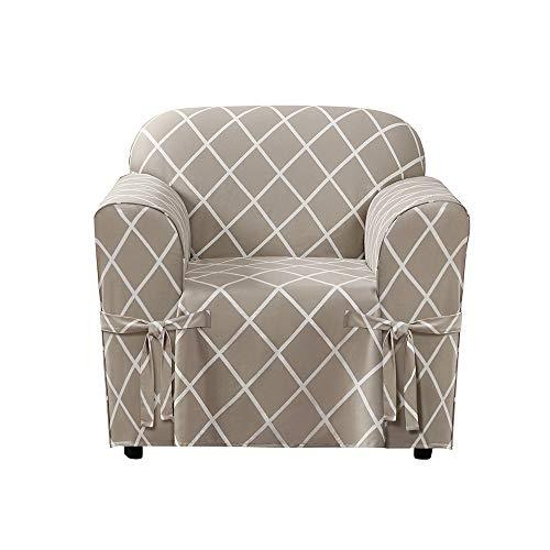 Surefit Lattice Box Cushion Chair, Tan/White