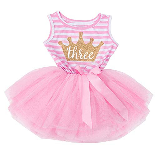 - IBTOM CASTLE Baby Girls 1st/2nd/3rd Birthday Cake Smash Crown Princess Outfit Striped Shiny Party Tulle Tutu Kids Dress (One Size, Pink (3 Year))