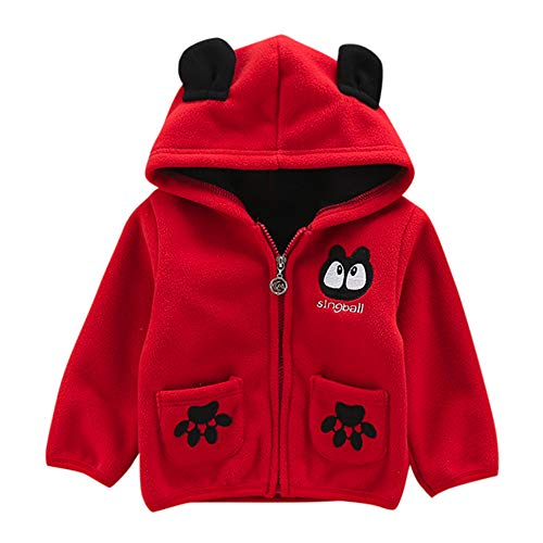 (Baby Toddler Boy Girl Baseball Coat Fall Winter Warm Clothes 1-3 Years Old,Infant Cartoon Hoodie Fleece Jacket (18-24 Months, Red))
