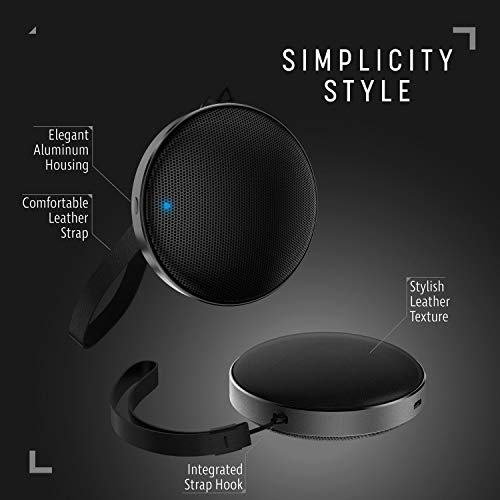 Cobble Pro BT 4.2 Speaker, Ultra Slim Protable Wireless Aluminum Round Speaker with Premium Leather Base & Strap - Loud and Hi-Quality HD Crystal Clear Sound and Bass [Built-in mic]
