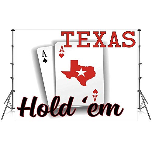 Poker Tournament Decorations Stylish Backdrop,Texas Holdem Theme Pair of Aces with Map Winning Hand Decorative for Photography Festival Decoration,59''W x 39''H