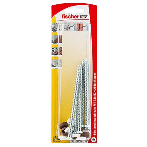 Fischer 92770 Lot de 6 Vis pour huisseries ext/érieures FFS 7,5 x 112 mm K