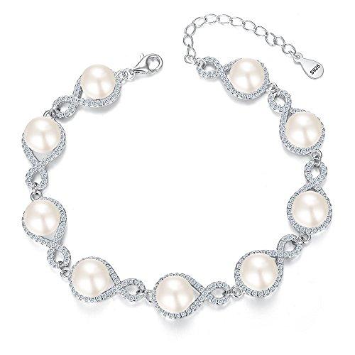 Figure Eight Tennis Bracelet (EVER FAITH 925 Sterling Silver CZ 9MM AAA Freshwater Cultured Pearl Figure 8 Infinity Bracelet Clear)