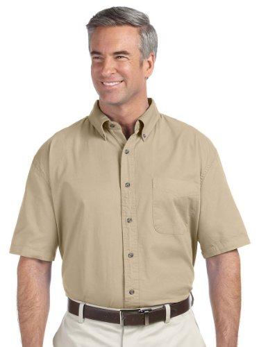 Devon & Jones Men's Short Sleeve Titan Twill Button Down Dress Shirt D500S beige XX-Large Devon And Jones Cotton Dress Shirt