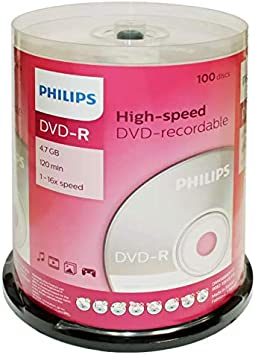 Amazon Com Hoodm4s6b00f Philips Dm4s6b00f 17 4 7gb 16x Dvd Rs 100 Ct Cake Box Spindle Electronics