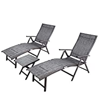 Crestlive Products Aluminum Beach Yard Pool Folding Recliner Adjustable Chaise Lounge Chair and Table Set All Weather for Outdoor Indoor, Brown Frame (Black & Gray)
