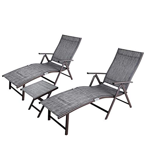 - Crestlive Products Aluminum Beach Yard Pool Folding Recliner Adjustable Chaise Lounge Chair and Table Set All Weather for Outdoor Indoor (Black & Gray)