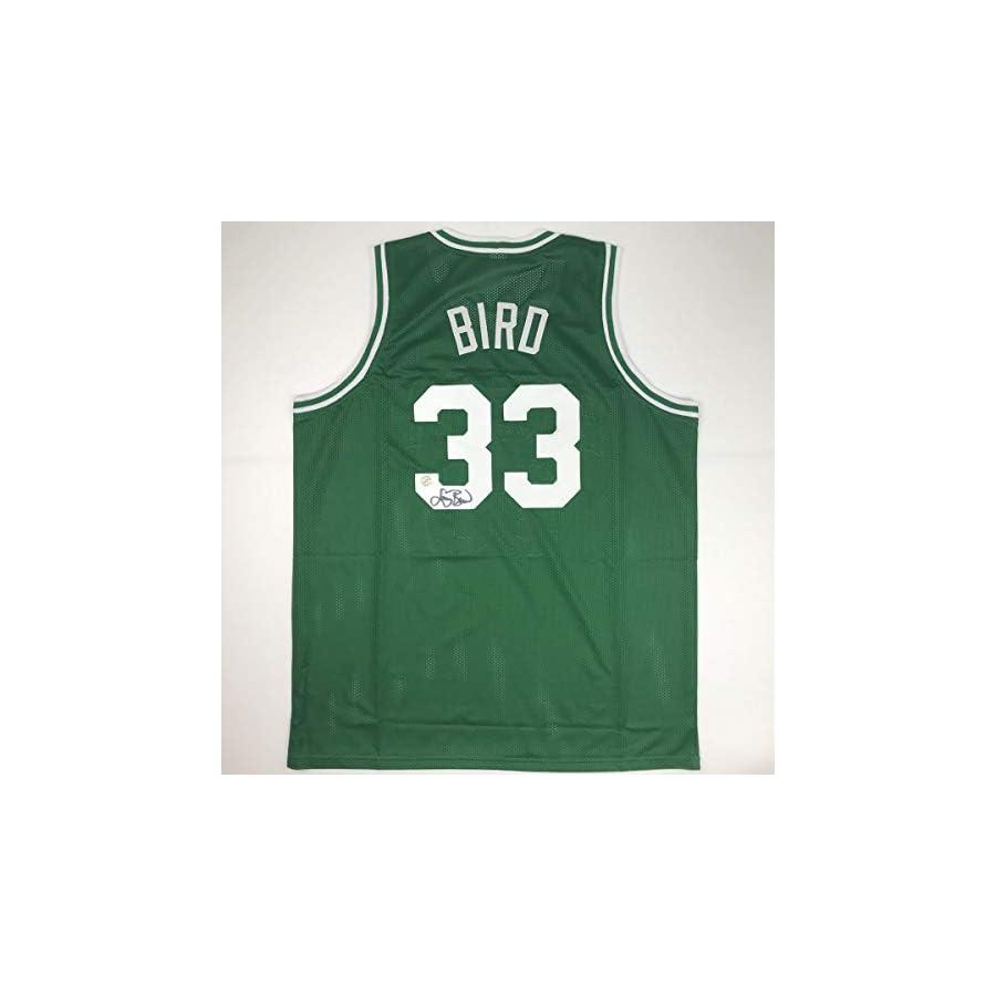 Autographed/Signed Larry Bird Boston Green Basketball Jersey Athlete Hologram COA