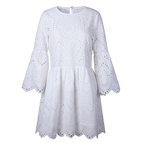 Rond en Blanc Manches Robe Courtes Robe Bovake Dentelle t Impression Vintage col Soire Femme Fleurs 1USq8U