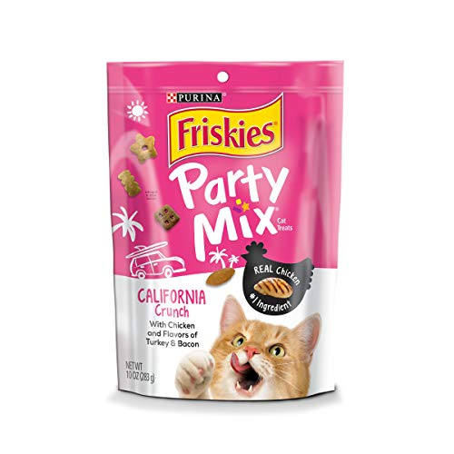 Purina Friskies Made in USA Facilities Cat Treats; Party Mix California Crunch With Chicken - 10 oz. Pouch