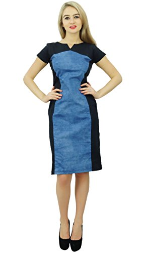 Bimba Chic Denim s Blue Black Dress Summer amp Panel Shift Dresses Women Casual 1aw1OqrE