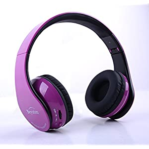 Brand New deep purple Hi-Fi Over-ear Stereo Bluetooth Headphones V4.1--Built in Mic-phone talk with phone or listen music clearly, built Noise cancellation technology, with Retail package!