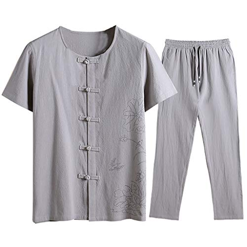 (NIUQI Men's Summer Fashion Casual Printing Cotton-Hemp Short Sleeve Long Pants)