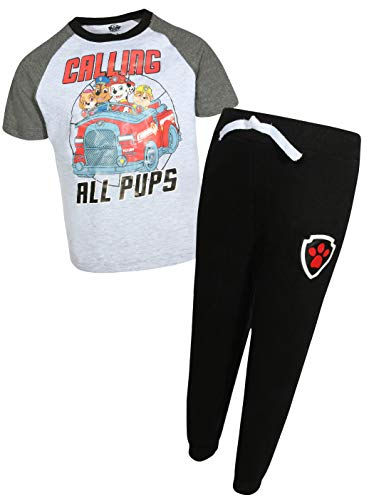 Boys Long Sleeved Fleece Pant - Nickelodeon Paw Patrol Boys T-Shirt Fleece Jogger 2 Piece Set (Toddler/Little Kid) (Calling All Pups, 5)'