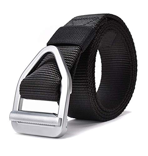 Military Style Short - JASGOOD Men's Nylon Military Style Casual Army Outdoor Tactical Webbing Buckle Belt (waist size below 40 inch, 11-New Black 125)