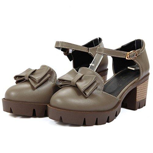 COOLCEPT Damen Klassische Knochelriemchen Sandalen Blockabsatz Plateau Schuhe Mit Bogen Gr Grau