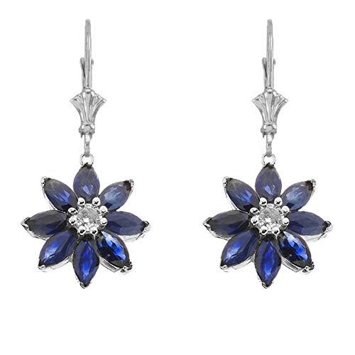 (Exotic 14k White Gold Daisy Diamond and Sapphire Flower Leverback Earrings)