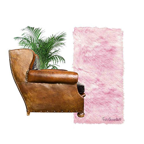Shag Carpet - Extraordinary Faux Fur Rug - Accent - Area Rug - Throw Rug and Design - Hand Made in The USA (2'x6', Pink)