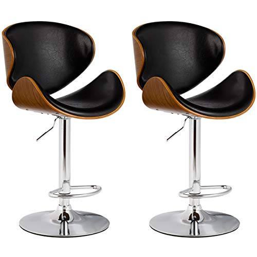 COSTWAY Bar Stool Adjustable Height Swivel Walnut Bentwood PU Leather Home Bar Stool with Curved Black Vinyl Seat and Back Set of 2 2