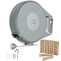 Retractable Clothesline – Portable Heavy Duty Indoor and Outdoor Single Clothes Drying Rack – 40 Feet PVC Retracting Clothes Line with Wall Mount Hang The Wet Dry Clothing Laundry – Easy Installation