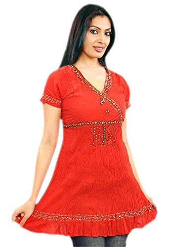Jayayamala Rot Orange Baumwolle Damen Tunika Bluse Ethnische Hand bestickte Bluse Bohemian Minikleid