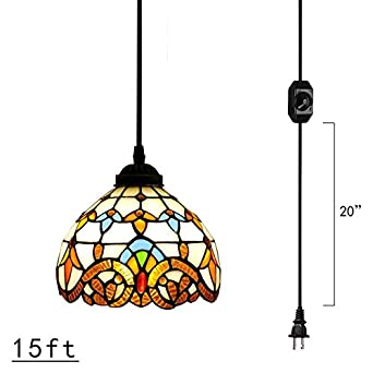 Kiven Plug-In Tiffany Chandelier Handmade Glass Pendant Lamp 15ft UL Black Cord With On Off Dimmer Switch Bulb Not Included TB0204