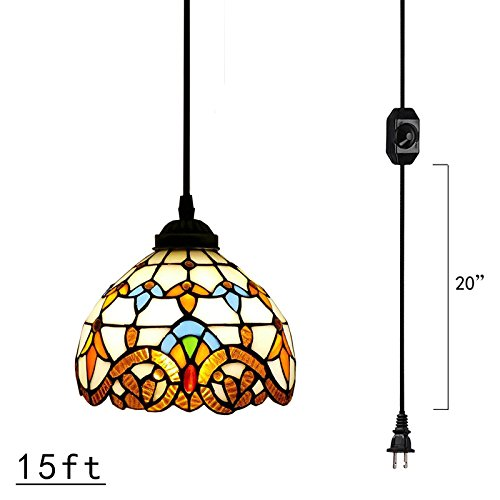 Kiven Plug-In Tiffany Chandelier Handmade Glass Pendant Lamp 15ft UL Black Cord With On/Off Dimmer Switch Bulb Not Included (TB0204)