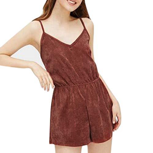Psunrise Mono Women Fashion Causal Adjustable Strap V-Neck Elastic Waist Sleeveless Short Camis Jumpsuit(L, Black) by Psunrise (Image #8)