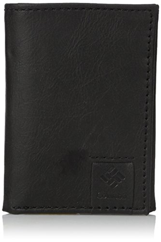 Columbia Men's RFID Leather Wallet - Big Skinny Trifold Vertical Security Protection Credit Card Slots and ID Window, Lofton Black, One sizee - Mens Three Wallet Fold