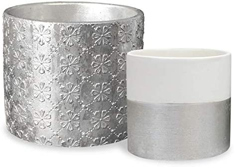 Ceramic Plant Flower Pots Indoor – Silver Foiled Embossed 6.3 Inch Pack 2 Handmade Floral Pattern Cement Planter with Drainage Plug, Home Decor Gift