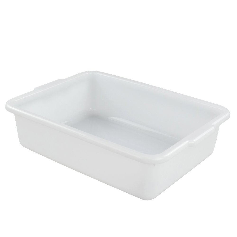 Morcte 3-Pack Commercial Bus Box, Plastic Bus Tub/Wash Basin, White