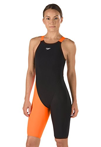 Speedo 7190920 Women LZR Racer Pro Recordbreaker Kneeskin W/ Comfort Strap Swimsuit, Black/Orange (008 - 176) - 32 by Speedo