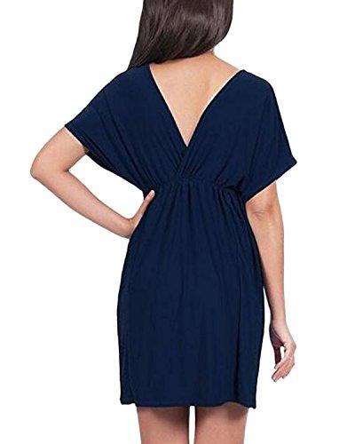 Auxo Mini Vestidos Cortos para Mujer Deep V Cuello Elegante Negro Vita Alta Azul oscuro