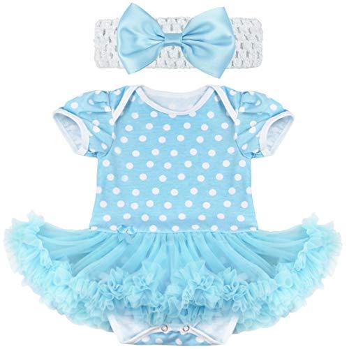 iiniim Toddler Baby Girls Polka Dot Tutu Romper Bodysuit with Headband Dress Up Outfit Set