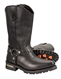 """Milwaukee Leather Men's Western Style Harness Boots (Black, Size 9.5) (11"""")"""