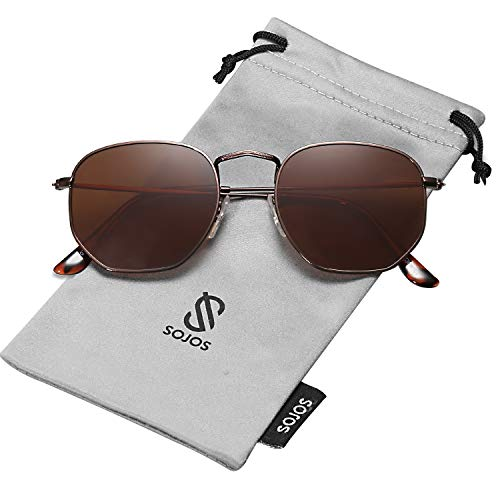 SOJOS Small Square Polarized Sunglasses for Men and Women Polygon Mirrored Lens SJ1072 with Coffee Frame/Brown Polarized ()
