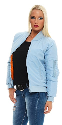 mujer Bomber Azul CBKTTRADE Claro Jacket Chaqueta para qPW8Iw